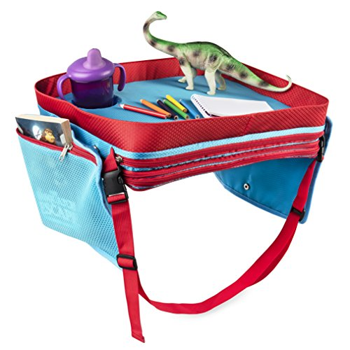 Kids Travel Lap Tray - Portable Foldable Child, Toddler, Baby Car Seat, Stroller, Bed, Airplane. Carry Bag Organizer Trays for Play, Snack, Food, Laptop. Large Folding Childs Backseat Activity Desk