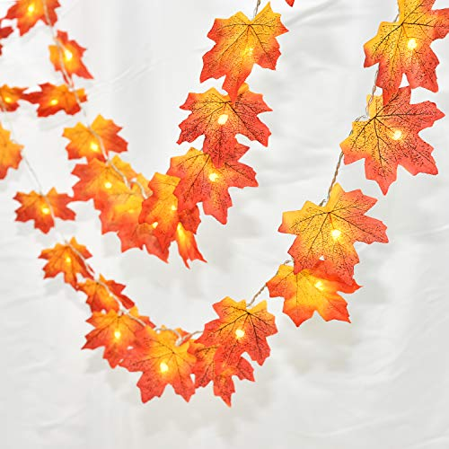 Halloween Garland With Lights (Lvydec 2 Pack Fall Leaves String Lights, 13ft Maple Leaves Garland 40 LED Lighted Fall Garland for Halloween Thanksgiving Christmas Decor (Battery)