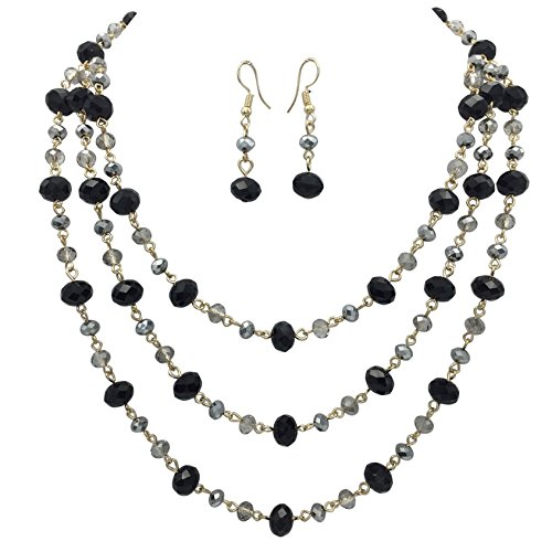 3 Row Layered Beveled Glass Beaded Boutique Style Necklace And Earrings Set (Black & Hematite Grey)