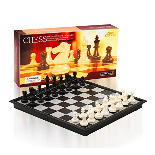 (QuadPro Magnetic Travel Chess Set for Adults and Kids with 12.52 x 12.50 Inches Folding Chess Board Educational Games)