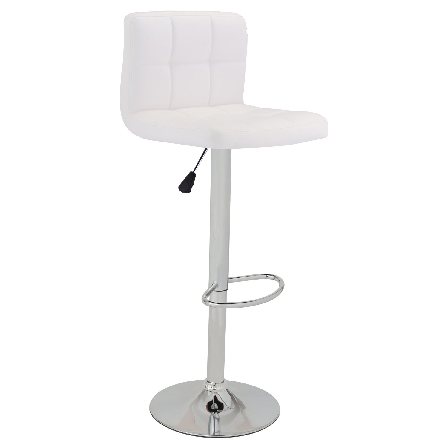 GentleShower Barstools, Modern Square Shape Swivel Bar Stool Bistro Chair PU Leather Adjustable Hydraulic Pub Chair Counter Barstool with Backrest, 1 Pcs White