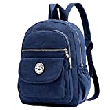 MISOFE Lightweight Backpack Purse Small Nylon Travel Daypack for Women Waterproof Casual School Bag (Navy Blue)