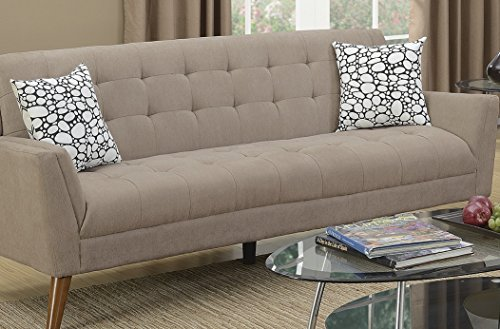 Living Room Bobkona Sand Color Sofa & Loveseat Modern Unique Velveteen Fabric Tufted Couch Accent Pillows 2pc Sofa Set