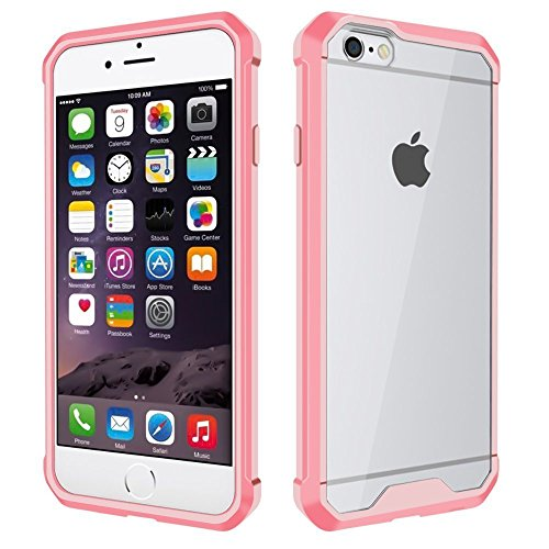 Price comparison product image iPhone 6 Case iPhone 6S Case, Crystal Transparent Clear Back and Pure Pink Sleeve Design and Anti-Scratch and Shock-Proof Cover for Apple iPhone 6 and Apple iPhone 6S (PPink)