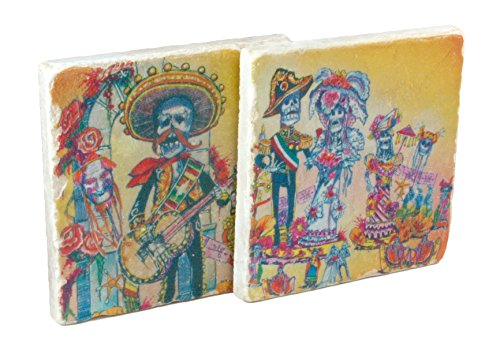 dia-de-los-muertos-day-of-the-dead-wedding-handmade-botticino-marble-coaster-set-of-2