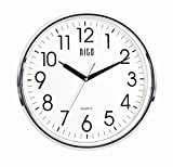 hito Silent Wall Clock Non Ticking Large Oversized Excellent Accurate Sweep Movement Glass Cover, Modern Decorative for Kitchen, Living Room, Bathroom, Bedroom, Office, Classroom (13 inches, Chrome)