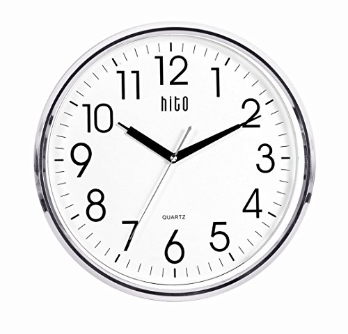 hito Extra Large Silent Non-ticking Wall Clock- Glass Cover (13 inches, Chrome)