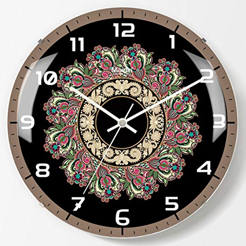 Happy Time Surface Patterned Color Dial Dark Colour Digital Metal Pointer Curved Glass Tempered Glass Frameless Mute Electronic Wall Clock Bedroom Living Room Wall Clock,B - Patterned Dial Round