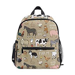 BALII Seamless Farm Animals Toddler Backpack Book Bag School Rucksack for Girl Boy Children