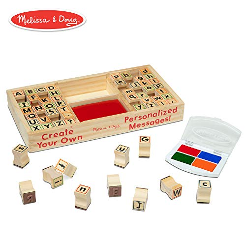 Melissa & Doug Alphabet Stamp Set (Stamps with Lower-Case and Capital Letters, 4 Colors, 56-Stamps) ()