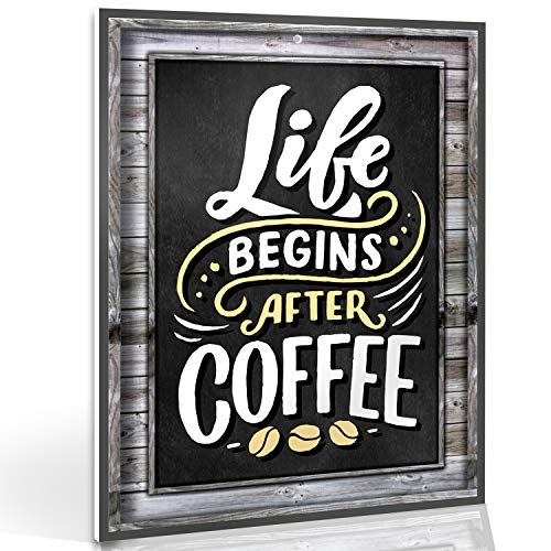 Coffee Signs Kitchen Decor – Life Begins After Coffee Wall Decor Sign – 11.75 inch x 9 inch – Rigid Thick PVC – For Home…
