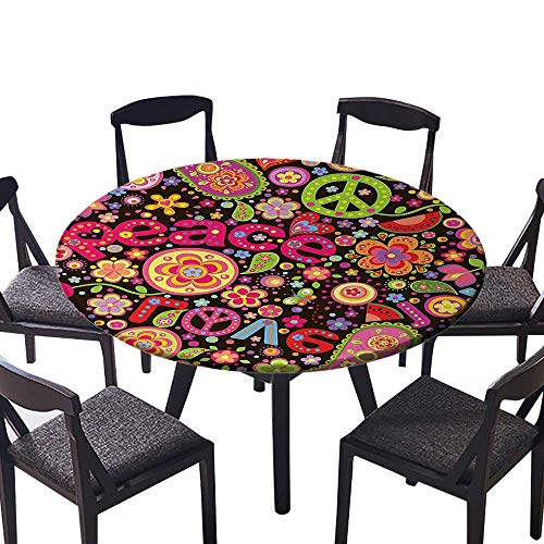 (Round Premium Table Cloth Hippie Colorful Paisley Leaves Music Keys Typography Party Idealism Historic Revolution Perfect for Indoor, Outdoor 47.5