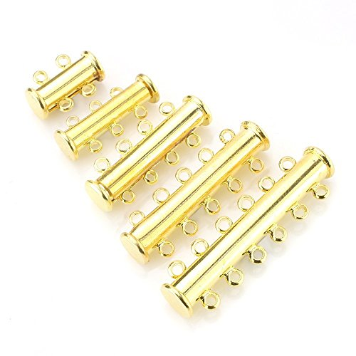 BEADNOVA 10pcs Gold Plated Multi Strand Slide Magnetic Tube Lock Clasp/Connectors for Jewelry Necklace Bracelet Making (Element Strand Necklace)