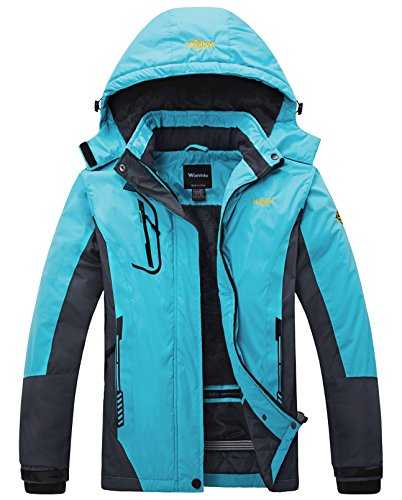 - Wantdo Women's Waterproof Mountain Jacket Fleece Windproof Ski Jacket Blue US L  Blue Large