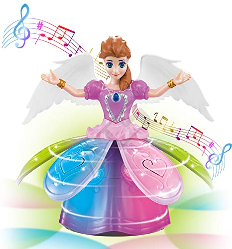 ATS Bump'n Go Sing-Along Dancing Rotating Fairy Princess Musical Toy with Blossoming Petal Skirt and Wings | Battery Operated Interactive Magical Cute Doll with Colorful LED Lights and Music for Girls (Dancing Ballerina Doll)