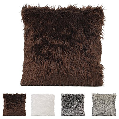 YougIka Deluxe Home Decorative Super Soft Plush Mongolian Faux Fur Throw Pillow Cover Cushion Case 45cm x 45cm (Coffee)