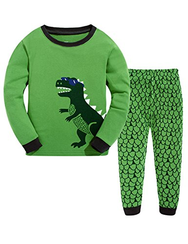 Little Boys Super Cute Dinosaur Long Sleeve Pajama Set 2 piece 100% Cotton Sleepwear Toddler T-Shirt & Pants Sets Halloween Costume Gift (Dinosaur Train Halloween Costumes For Toddlers)