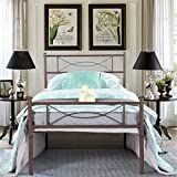 SimLife Metal Bed Frame Twin Size 6 Legs Two Headboards Mattress Foundation Steel Platform Bed No Box Spring Needed for Kids Brown
