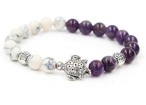 Amazon com: Sea Turtle Purple Amethyst & White Marble Bead