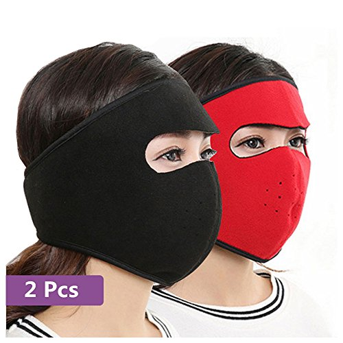 Costume Alpinestars (Xerhnan Winter Outdoor Windproof Mask Face Cover for Motorcycle Cycling Skateboard & Sports 2 Pcs (one red and one black))