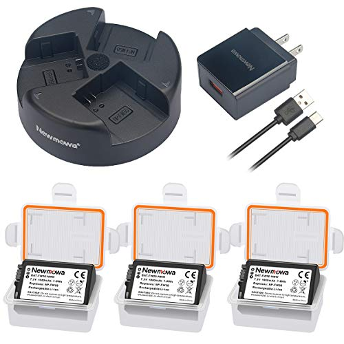 Newmowa NP-FW50 Replacement Battery (3 pack) and 3-Channel USB Charger Kit  for Sony FW50 and Sony Alpha a3000, Alpha a5000, Alpha a5100, Alpha a6000,