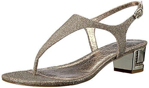 Adrianna Papell Women's Cassidy Flat Sandal, Platino, 9 M - Gold Adrianna