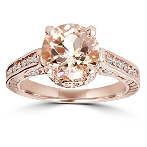 2 Carat Morganite & Diamond Vintage Engagement Ring 14K Rose Gold - Size 6