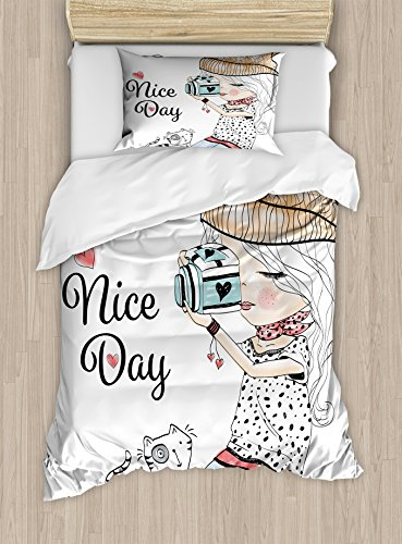 Cute Duvet Cover Set Twin Size by Lunarable, Photographer Girl in Hipster Clothes Taking Pictures Bird Cat and Hearts Nice Day, Decorative 2 Piece Bedding Set with 1 Pillow Sham, Multicolor
