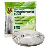 Duck Brand Vinyl Gasket Weatherstrip Seal, 1/4-Inch-by-7/8-Inch-by-17-Feet Gasket Weather Seal, 1280121
