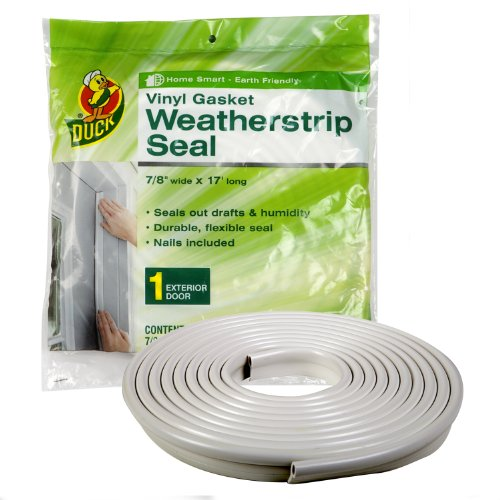 Duck Brand Vinyl Gasket Weatherstrip Seal, 1/4-Inch-by-7/8-Inch-by-17-Feet Gasket Weather Seal, (Tubular Strip)