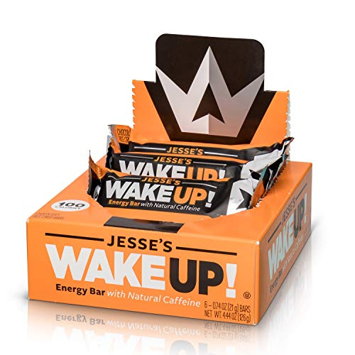 Jesse's WakeUP! Energy Bars (1 Bar = 3 Espressos) – All Natural Caffeine, Dark Chocolate Rice Crisp Bar (100 Calories) – Vegan, Kosher, Soy Free, Gluten Free, Nut Free, Non-GMO (6 Count)