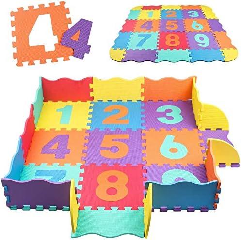 Swonuk 25 pi/èces Tapis de Puzzle num/érique en Mousse Plate b/éb/é Tapis de Sol rembourr/é Non Toxique pour Enfants Tapis de Jeu de cl/ôture 120 120 cm