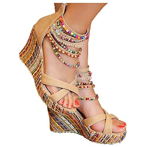getmorebeauty Women's Wedge Sandals Pearls Across The Top Platform High Heels (10 B(M) US,Beige)