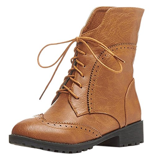 COOLCEPT Mujer Casual Tacon Bajo Con Cordones Oxford Botines Brown