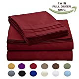 Luxury Egyptian Comfort Wrinkle Free 1800 Thread Count 6 Piece King Size Sheet Set, BURGUNDY Color, 2 Bonus Pillowcases FREE!