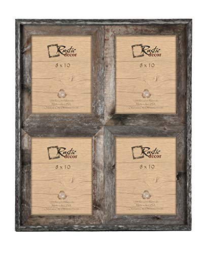8×10 – 2.5″ Wide Reclaimed Rustic Barnwood Collage Photo Frame – Holds 4 Photos For Sale