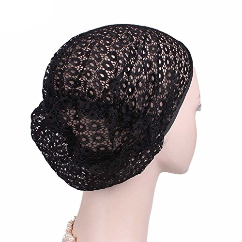 Wrap Cap For Women Clearance,Farjing Women's Solid Lace Sleep Cap Hair Hat (Free Size,Black)