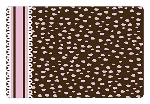 Filled White Chocolate - Ambesonne Chocolate Pet Mat for Food and Water, Lace Stripe Heart Filled Romantic Pattern on Abstract Brown Background, Rectangle Non-Slip Rubber Mat for Dogs and Cats, Pale Pink Brown White