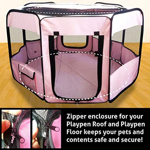 "ToysOpoly #1 Premium Pet Playpen – Large 45"" Indoor/Outdoor Cage. Best Exercise Kennel for Your Dog, Cat, Rabbit, Puppy, Hamster or Guinea Pig. Portable Fabric Pen for Easy Travel (Light Pink) by ToysOpoly (Image #5)"