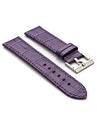 StrapsCo Purple Premium Crocodile Embossed Flat Leather Watch Strap in Size 22mm