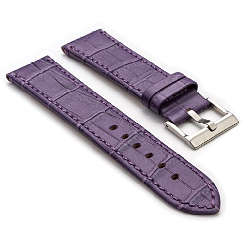 StrapsCo Premium Crocodile Embossed Flat Leather Watch (Croc Embossed Strap)