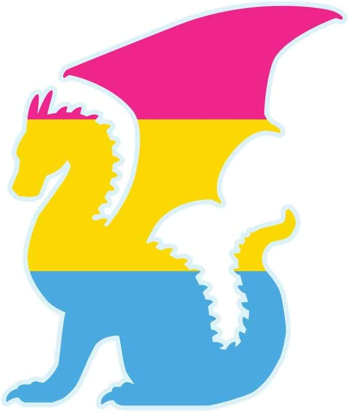 Dark Spark Decals LGBT Pride Pansexual Flag Dragon Silhouette - 4 Inch Full Color Vinyl Decal for Indoor or Outdoor use, Cars, Laptops, Décor, Windows, and More