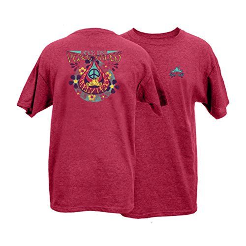 Peace Frogs Adult Teardrop Frog Short Sleeve T-Shirt (Heather Cardinal, XX-Large)