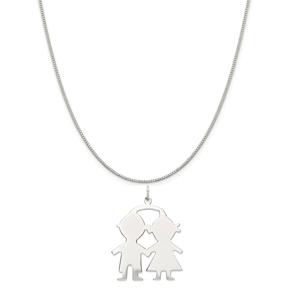 Mireval Sterling Silver Engravable Boy//Girl Disc Charm on a Sterling Silver Chain Necklace 16-20