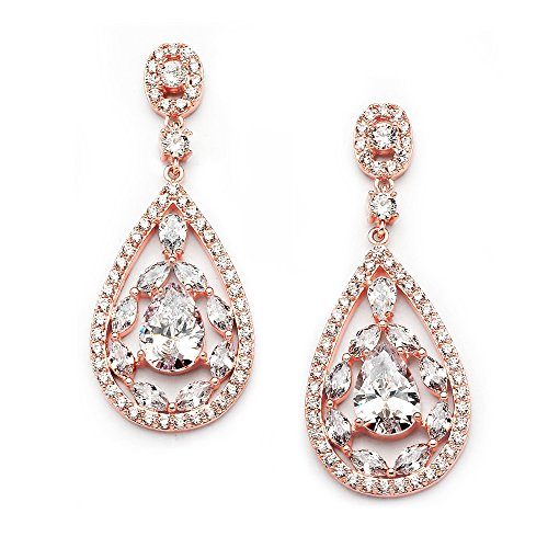 Mariell Rose Gold Dangle Earrings for Brides, Wedding or Prom - Pear-Shape CZ Statement Chandeliers