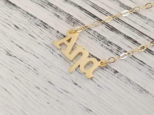 Dainty Greek Name Necklace Yellow Gold Plated over - Name Necklace Greek