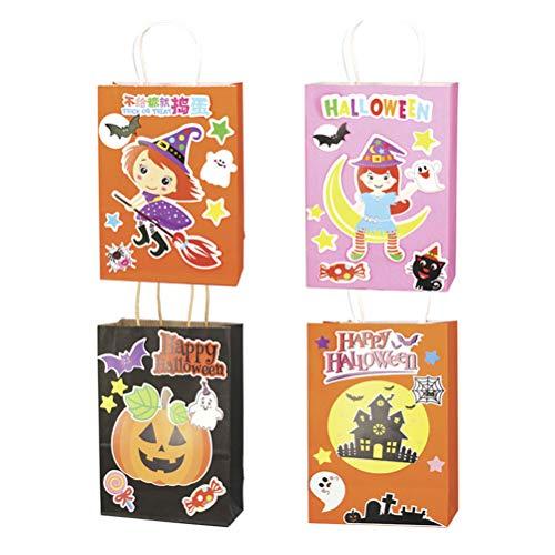 Amosfun 12pcs Kids Halloween Paper Bag DIY Candy Bag (Random Pattern) -