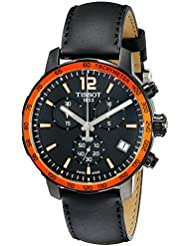 Tissot Mens T095.417.36.057.01 Quickster Black Dial Black Leather Strap Chronograph Swiss Quartz Watch