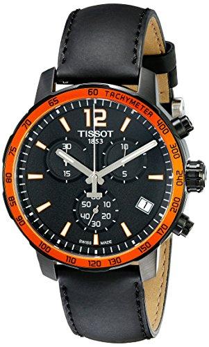 Mens Black Dial Strap Watch - Tissot Men's T095.417.36.057.01 'Quickster' Black Dial Black Leather Strap Chronograph Swiss Quartz Watch
