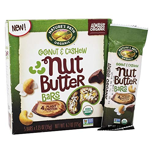Natures Path, Bar Nut Butter Coconut Cashew Organic, 1.23 Ounce, 5 Pack